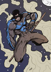 Nightwing in action by Rezon23