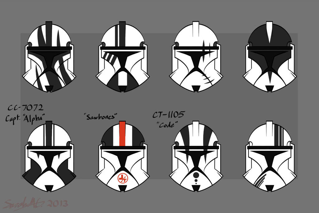clone trooper helmet designs phase 1 by cornocte on deviantart