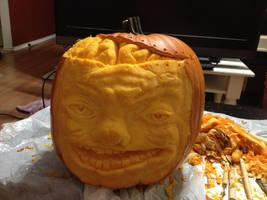 Brain pumpkin by QueenAnneka
