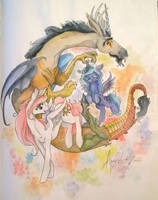 Discord and princesses by QueenAnneka