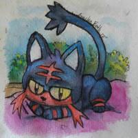 Pokemon: Litten in the window by QueenAnneka