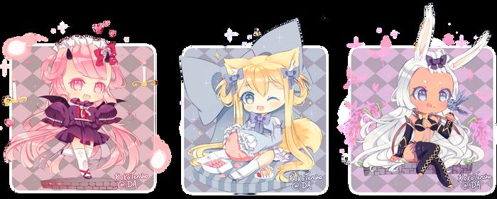 Fantasy Chibi commissions by KokoTensho
