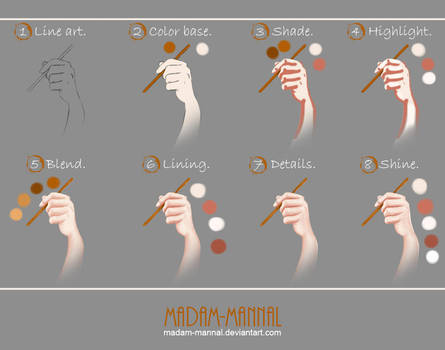 Hand Painting [Step by Step] Tutorial by Madam-Mannal