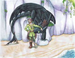 Hiccup and Toothless by alliartist