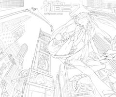 MIKU IN NEW YORK  LINE WORK by DanEvan-ArtWork