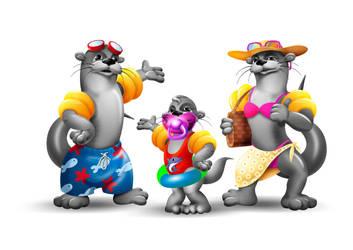 3D mascot Oscar and family for AquaCity Poprad by crestyan