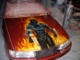 Airbrushed disturbed bonnet by magaggie