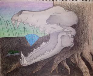 Dog Skull Sketch by xRaithe
