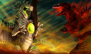 Zadaia vs Godzilla by Natsuakai
