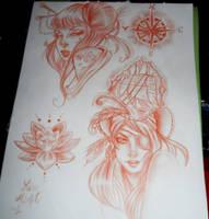Japanese and Pirate girls tattoo flash by MissMisfit13