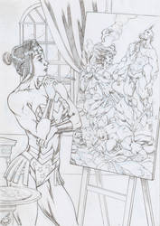 Wonder Woman Painting by UZOMISTUDIO