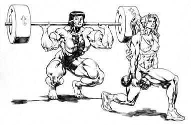 Miranda and Lydia Valkiria working out legs by UZOMISTUDIO