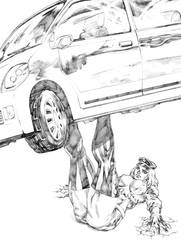 Natasha Romanenko lifting a car! by UZOMISTUDIO