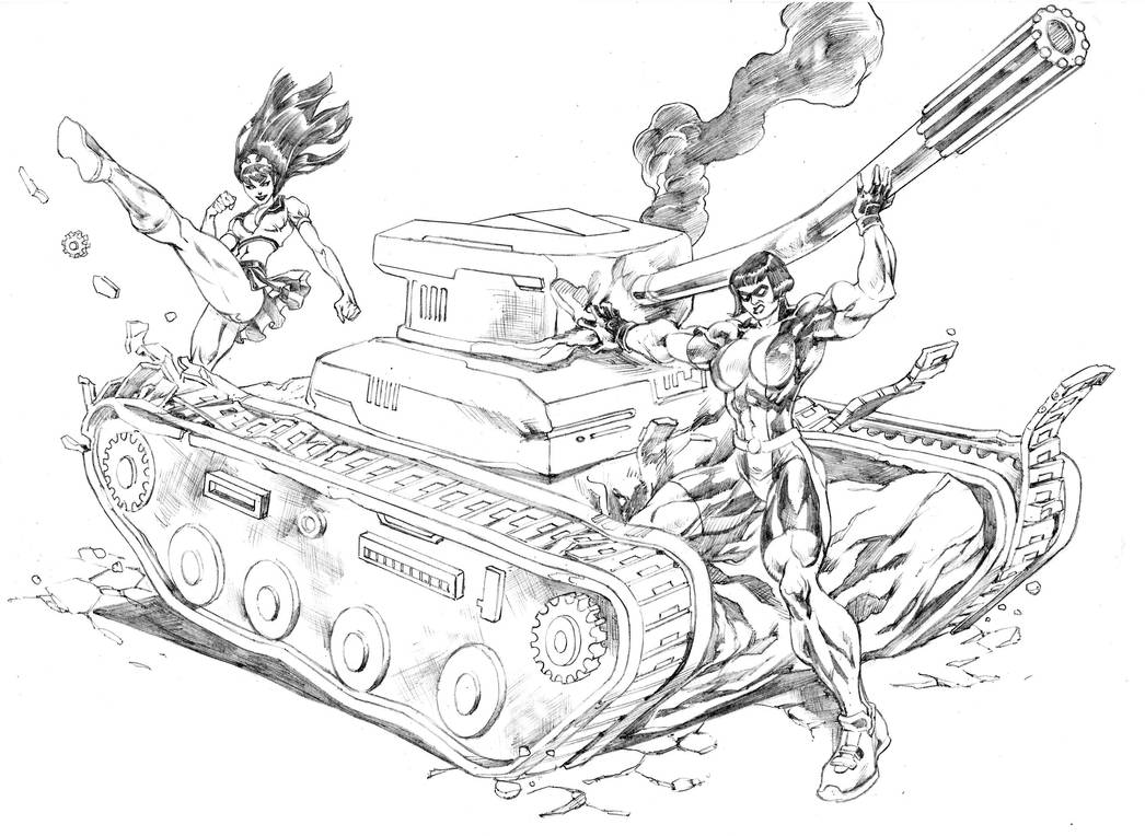 Miranda and Cleopatra destroying a tank by UZOMISTUDIO