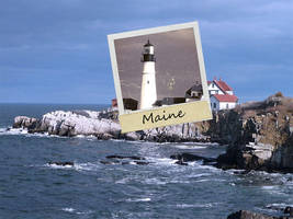Maine Lighthouse Polaroid by Photo-Manips-by-Ed