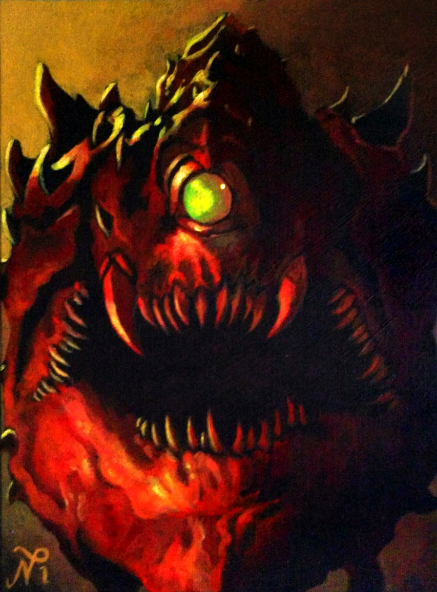 DOOM Cacodemon Painting by Xous54