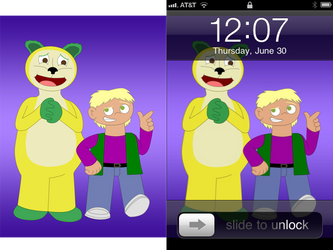 iPhone wallpaper: boy and bear by DanMat6288