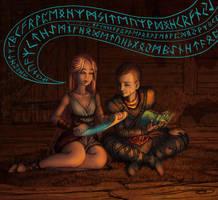 Atreus and Sigyn - Rune Study by ninaneco