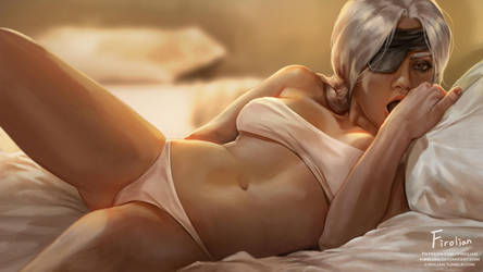 Ana Amari on the bed by Firolian