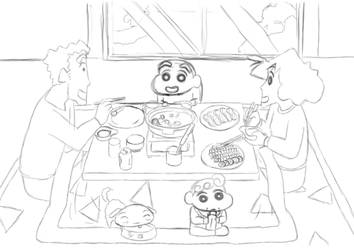 Rough : Crayon Shin Chan Family Dinner 2015 by darshan2good