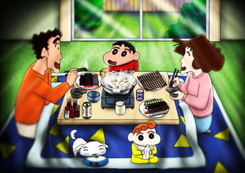 digital : Crayon Shin Chan Family Dinner 03 2015 by darshan2good