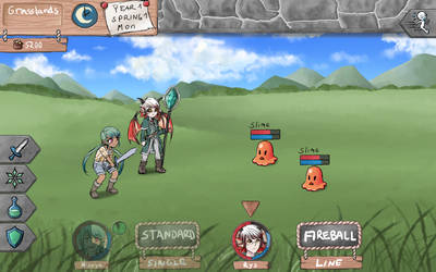 Dungeons and Harvest - Battle Screen Design by ChibiEdo