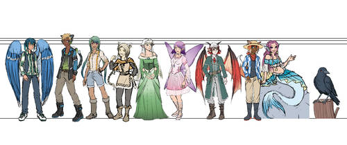 Dungeons and Harvest - all Characters Size chart by ChibiEdo