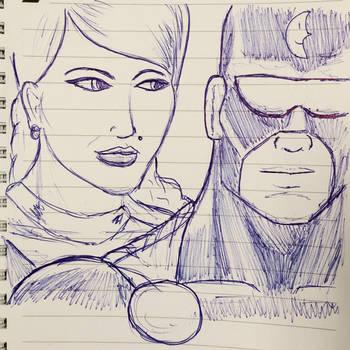 Centennia and Captain Evening doodle by cyberkitten01