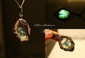 Sparkle in the Night Pendant from polymer clay by Krinna