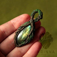 WIP Forest pendant (polymer clay and labradorite) by Krinna