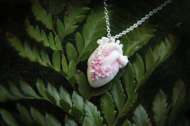 White polymer clay sakura anatomical heart by Krinna