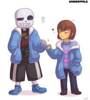 Undertale - Sans and Frisk Fist Bumpu by rufiangel