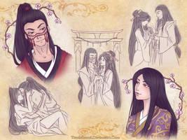 SketchPage: Yui and Paneki by TsuchiKuroi