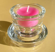 Pink tea light in stacked glass stands by Dowlphin