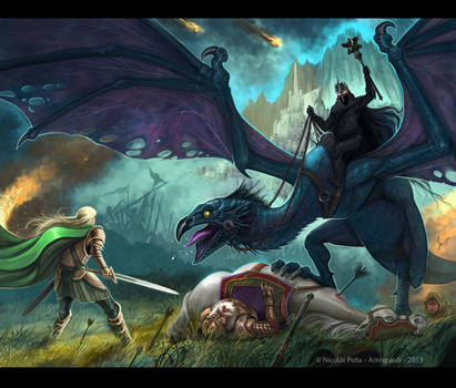 Eowyn and the Nazgul by Amisgaudi
