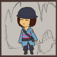 Frisk as Soldier (Undertale/TF2 crossover) by Cinnomnomnom