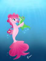 Seapony Pinkie Pie and Gummy by PrincessMoonSilver