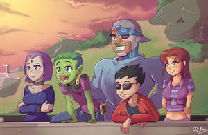 Teen Titans  at sun down by PalmZarel