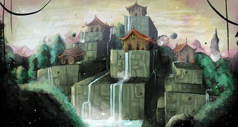 Fantasy Landscape by beespit