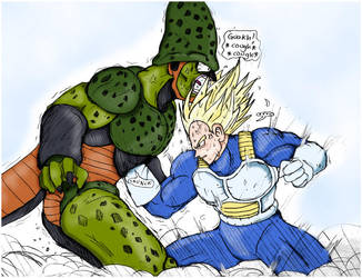 Color Cell vs Vegeta by dadouX