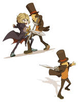 Anton vs Professor Layton by wredwrat