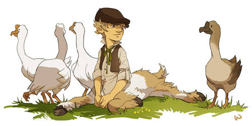 Cob and his Geese by wredwrat