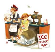 Ice Dessert Stall by wredwrat
