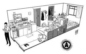Raidou's Living Space by wredwrat