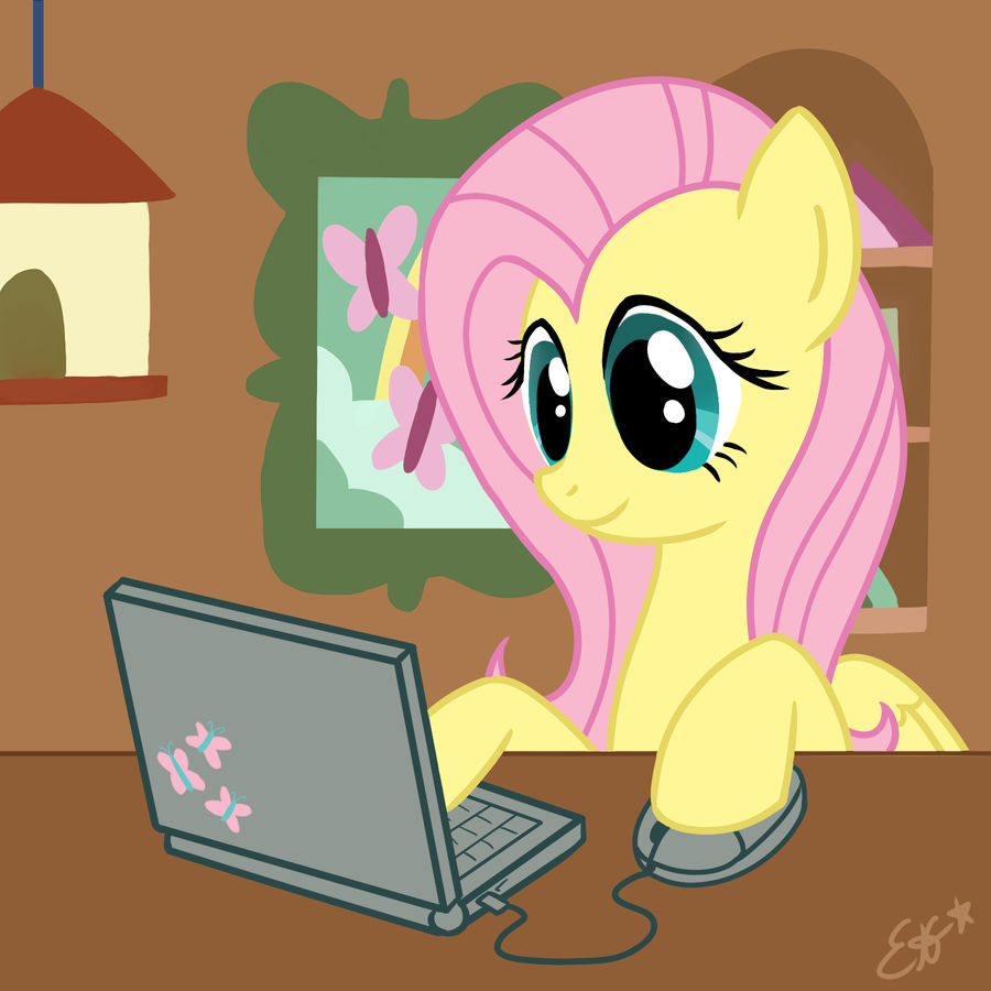 Fluttershy Likes To Use The Computer by Oomles