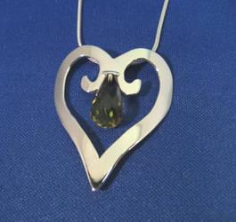 Heart Pendant with Kiwi Quarts by GipsonDiamondJeweler