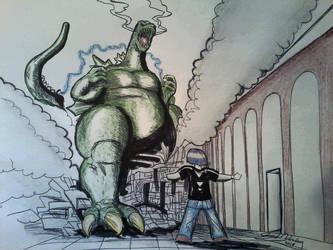 Dream-Inspired Godzilla versus the Dreamer by darmisto
