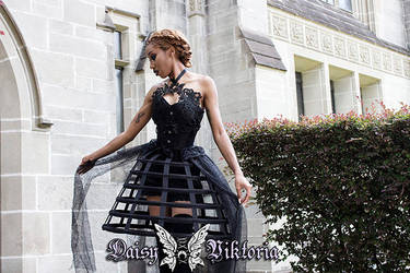 Black Silk and Lace Corset Gown by DaisyViktoria
