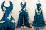 Teal Corset Ruffle Gown by DaisyViktoria