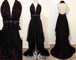 Plaid and Chiffon Gothic Halter Gown by DaisyViktoria
